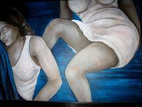 Weiß, Blau, Frau, Acrylmalerei