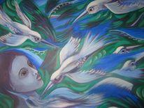 Vögel, Lila, Stille, Weiß