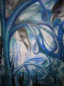 Wald, Abschied, Vogel, Malerei