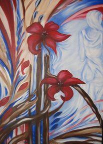 Frau, Blau, Acrylmalerei, Figur