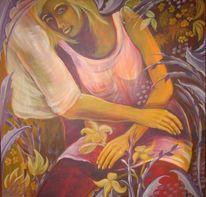 Figur, Gelb, Acrylmalerei, Lila