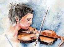 Freude, Aquarellmalerei, Geige, Harmonie