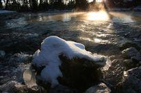 Ufer, Eis, Fluss, Spiegelung