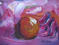 Rot, Kugel, Hand, Acrylmalerei