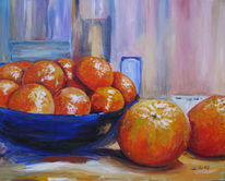 Obst, Orange, Essen, Blau