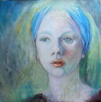 Blau, Portrait, Frau, Malerei