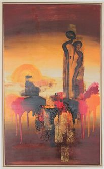 Braun, Sonnenuntergang, Malerei, Afrika