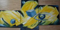 Abstrakt, Acrylmalerei, Würfel, Malerei