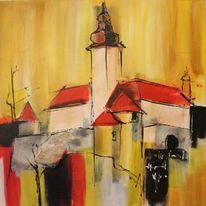 Gelb, Schloss, Panart, Acrylmalerei