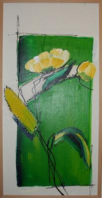 Grün, Blumen, Korn, Weiß