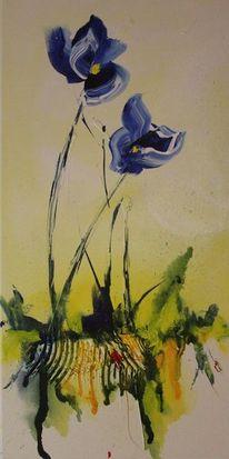Blau, Blumen, Acrylmalerei, Abstrakt
