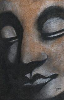 Fotorealismus, Religion, Buddhismus, Kohlezeichnung