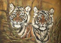 Großkatze, Katze, Pastellmalerei, Malerei