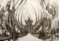Tuschmalerei, Schwarz weiß, Federzeichnung, Surreal