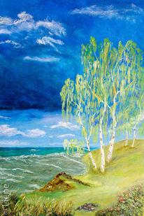 Welle, Meer, Ölmalerei, Sommer
