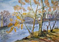 Wasser, Aquarellmalerei, See, Herbst