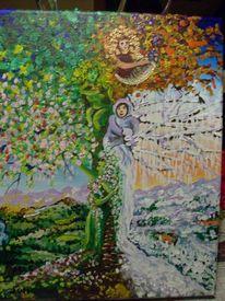 Farben, Jahreszeiten, Baum, Malerei