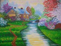 Fluss, Frühling, Blütezeit, Malerei