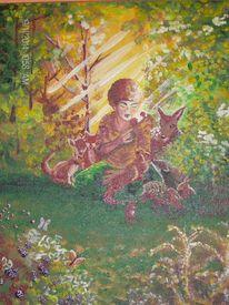 Tiere, Natur, Wald, Malerei