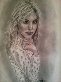 Blond, Frau, Portrait, Malerei