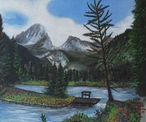 Landschaft, Weiher, Berge, See