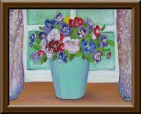 Malerei, Stiefmütterchen, Fenster