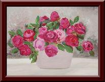 Rose, Malerei, Pflanzen,