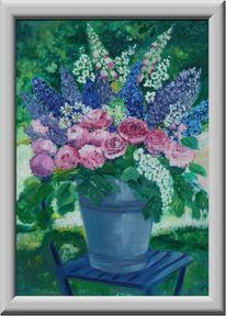 Blumen, Garten, Eimer, Sthul
