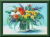 Strauß, Wasser, Blumen, Malerei
