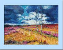 Feld, Baum, Himmel, Malerei