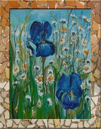 Blumen, Gras, Malerei, Gänseblümchen