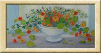 Vase, Blumen, Kapuzinerkresse, Malerei