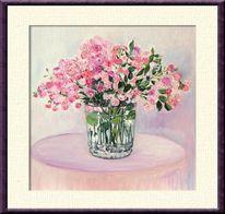 Tisch, Rose, Wasser, Vase