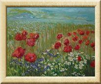 Mohnblumen, Feld, Himmel, Malerei