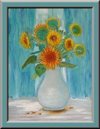 Sonnenblumen, Vase, Gardine, Malerei