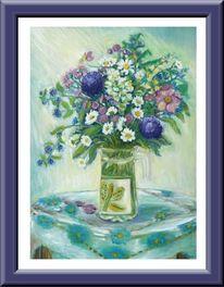 Vase, Blumen, Tisch, Vasser