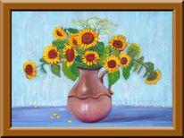 Sonnenblumen, Krug, Malerei