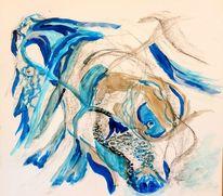 Abstrakt, Hund, Acrylmalerei, Mischtechnik