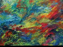 Abstrakt, Feuerwerk, Ölmalerei, Malerei
