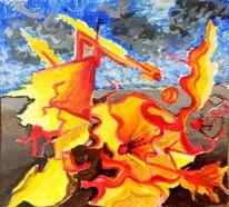 Kampf, Böse, Acrylmalerei, Surreal