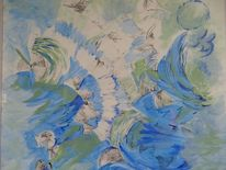 Acrylmalerei, Abstrakt, Kohlezeichnung, Kornblumen