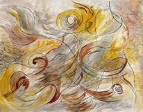 Acrylmalerei, Leichtigkeit, Abstrakt, Pastellmalerei