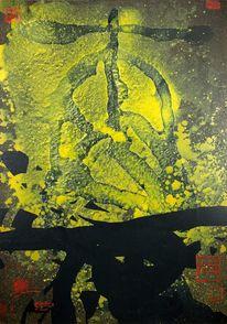 Grunge, Gelb, Abstrakt, Schwarz