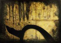 Acrylmalerei, Dunkel, Schwarz, Kratzer