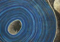 Blau, Spirale, Acrylmalerei, Schwarz weiß