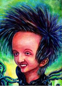 Karikatur, Haare, Lächeln, Malerei