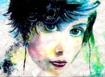 Lippen, Portrait, Blick, Malerei
