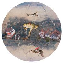 Häuser, Surreal, Frosch, Vogel
