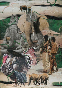 Scherenschnitt, Collage, Surreal, Elefant