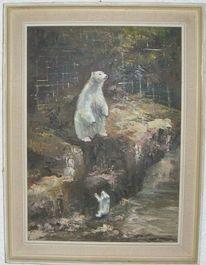 Nachwuchs, Eisbärenmutter, Eisbär, Malerei